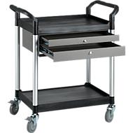Mehrzweck-Tischwagen mit 2 Schubladen, schwarz