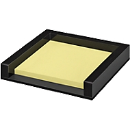 Memoblokhouder WEDO Black Office, zwart gematteerd/glanzend, met 50 zelfklevende notitieblaadjes