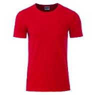 Men's Basic-T, Rundhals, 100 % Bio-Baumwolle, red, Gr. M