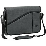 Messenger Bag COLLEGE, Polyester, Laptop-Innentasche, gepolst. Tragegurt, B400xT100xH300 mm, graumeliert