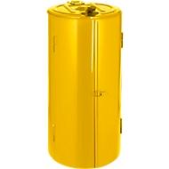 Metalen afvalzakhouder, 120 l, Ø 500 x H 1000 mm, geel