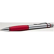 Metall-Druckkugelschreiber Rubber Grip, silber/rot