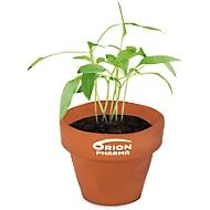Mini Pflanztopf, Terracotta, mit Blumensamen & Substrattablette, inkl. Werbedruck 4c Digital & 1-farbig