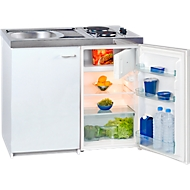 Minikerkeuken KK 1000Z A+, 4* koelkast 102 l, Duo kookplaat 2 x 1500 W, spoelbak, onderkast met scharnierende deur, wit