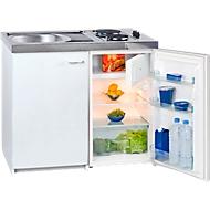 Minikeuken KK 1000Z A+, 4* koelkast met 102 l, 2-pits kookplaat 2 x 1500 W, spoelbak, onderkast met vleugeldeur, wit