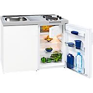 Minikeuken KK 1048 A+, 3* koelkast met 80 l, 2-pits kookplaat 2 x 1500 W, spoelbak, onderkast met vleugeldeur, wit
