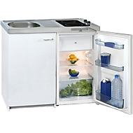 Minikeuken KK 2000Z A+, 4* koelkast met 102 l, 2-pits keramische plaat 1200/1700 W, spoelbak, onderkast met vleugeldeur, wit