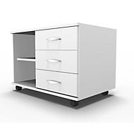 Mobiel sideboard, archiefrek + 3 schuifladen + materiaallade, B 800, rechts monteerbaar, wit