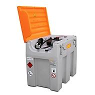 Mobiel vulstation CEMO DT-Mobil Easy LI-ON accusysteem, elektrische pomp 24 V, 600 l, automatische sproeier, scharnierend deksel, B 1160 x D 800 x H 1070 mm