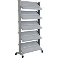 Mobiele folderhouder UNO, aluminium kleur