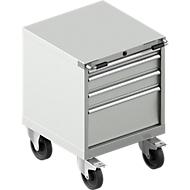 Mobiele gereedschapskast WSK 27-27, 4 laden, tot 75 kg, H 770 mm, individuele vergrendeling, staal, lichtgrijs/lichtgrijs