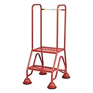 Mobiele platformladder, 2 treden van stalen rooster, rood