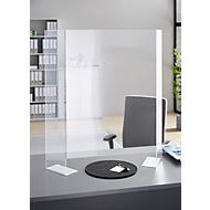 Mobiele scheidingswand in acrylglas, B 810 x D 250 x H 960 mm, met voetjes, transparant