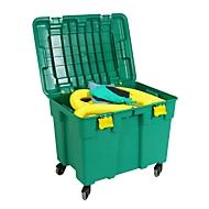 Mobiele set voor noodgevallen bindmiddel voor chemicaliën, opnamecapaciteit 150 l, 132 stuks, in verrijdbare koffer, groen