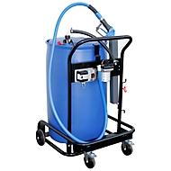 Mobile PKW-Tankanlage für AdBlue® CEMO Bluetroll Car PRO, Elektropumpe 12 V, für 200 l-Fass, mit Saugrohr und Kupplung AF2, B 820 x T 760 x H 1090 mm