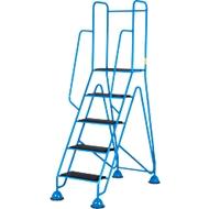 Mobile Plattformleiter, 5 Stufen aus eingespritzten, geriffelten Hartkunststoff, blau