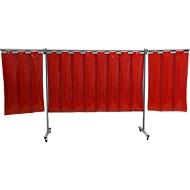 Mobile Schweißerschutzwand, 1-tlg., 2 mm starke Lamellen, EN ISO 25980, B 2100 x H 1920 mm, blau/rot