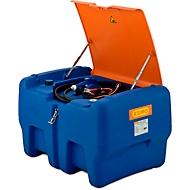 Mobile Tankstelle CEMO Blue-Mobil EASY, mit Tauchpumpe CENTRI SP30 12V, 440 l Tank für AdBlue®, Klappdeckel, B 1180 x T 800 x H 710 mm