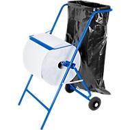 Mobiler Papierrollenhalter, für Rollenbreite 400 mm, Abreißkante & Halterung für Müllsäcke bis 120 l, B 550 x T 700 x H 900 mm