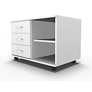 Mobiles Sideboard, Regal + 3 Schübe + Utensilienschub, B 800, anstellbar links, weiß