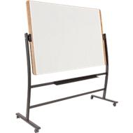 Mobiles Whiteboard Rocada Natural, drehbar, magnethaftend, Ablageschale, Stahl auf Holz, B 1500 x H 1000 mm