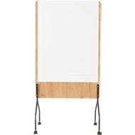 Mobiles Whiteboard Rocada Natural, drehbar, magnethaftend, Stahl auf Melaminholzplatte, B 1000 x H 1200 mm