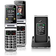 Mobiltelefon beafon SL595, 2 TFT-Farbdisplays 2,4″/1,44″, schwarz-silber