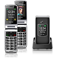 Mobiltelefon beafon SL595plus, m. 2 TFT-Farbdisplays 2,4″/1,44″, Kamera 3 MP, schwarz-silber
