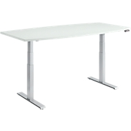 MODENA FLEX vergadertafel, bootvorm, hoogte elektrisch verstelbaar, T-poot, B 2000 x D 800/1000 mm, lichtgrijs