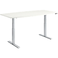 MODENA FLEX vergadertafel, bootvorm, hoogte elektrisch verstelbaar, T-poot, B 2000 x D 800/1000 mm, wit