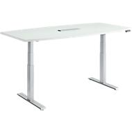 MODENA FLEX vergadertafel, elektrisch in hoogte verstelbaar, bootvorm, T-poot, B 2000 mm + technische installatie, lichtgrijs