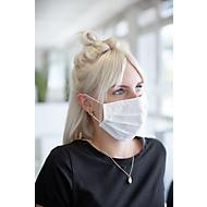 Mond- en neusbeschermer, wasbaar, katoen, 3-laags, verstelbare neusband & elastieken, wit, 5 stuks