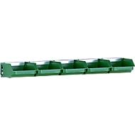 Montagerails, 1 stuk, korte uitvoering, l 490 mm, met 5 bakken