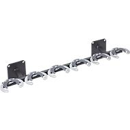Mottez Tretrollerwandhalter, 6 Roller, Stahl, B 1060 x T 245 mm x H 150, Loch f. Diebstahlsicherung