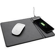 Mousepad, integrierter Wireless-Charger, Qi-kompatibel, Werbedruck 70 x 30 mm, schwarz