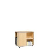 Moxxo IQ bijzetkastje, met PC-towervak, 1 deur, 2 zijvakken, B 551 x D 800 x H 720 mm, hout, ahorndecor