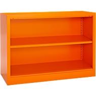 MS iCOLOUR boekenkast, 2 OH, kwaliteitsplaatstaal, B 950 x D 400 x H 865 mm, oranje RAL2004