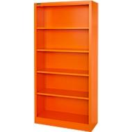 MS iCOLOUR boekenkast,  plaatstaal, 5 OH, B 950 x D 400 x 1935 mm, oranje RAL2004