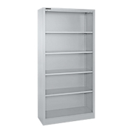 MS iCONOMY stalen boekenkast, 5 OH, B 800 x D 400 x H 1935 mm, blank aluminium RAL 9006