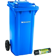Mülltonne GMT, 120 l, fahrbar, blau + Schwerlast-Abfallsäcke