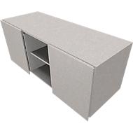 Multicontainer SOLUS PLAY, 2 Schiebetüren, 2 offene Fächer, grifflos, B 1350 x T 523 x H 583 mm, Ceramic grey