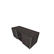Multicontainer SOLUS PLAY, 2 Schiebetüren, 2 offene Fächer, grifflos, B 1350 x T 523 x H 583 mm, Mooreiche
