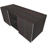 Multikastje SOLUS PLAY, 2 schuifdeuren, 2 open vakken, greeploos, b 1350 x d 523 x h 583 mm, Moor-eiken