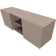 Multiladeblok SOLUS PLAY, 2 schuifdeuren, 2 open vakken, zonder handgreep, B 1350 x D 523 x H 583 mm, stone grey