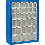 MultiStore magazijnhangkasten, 665 x 250 x 900 mm, 33 bakjes, gentiaanblauw