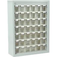 MultiStore magazijnhangkasten, 665 x 250 x 900 mm, 42 bakjes, lichtgrijs