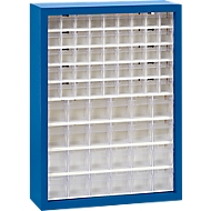 MultiStore magazijnhangkasten, 665 x 250 x 900 mm, 69 bakjes, gentiaanblauw
