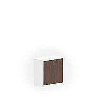 NEVADA kast, 2 OH, houten deuren, b 800 x d 445 x h 825 mm, wit/lariksgrijs