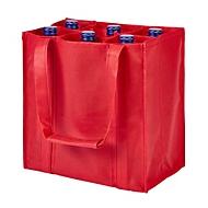 Non Woven Bottle Bag - 6 Einsteckfächer - Non Woven, Rot, Auswahl Werbeanbringung optional