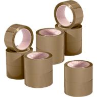 NOPI® 10 rubans d'emballage Classic PP, 66 m x 50 mm, brun, + 2 rouleaux GRATUITS